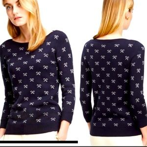 Ann Taylor Navy Blue/White Bow Sweater Top Size M